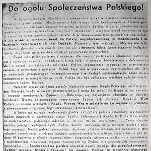 "A leaflet issued in August 1943 by the Council to Aid Jews (""Żegota"")"